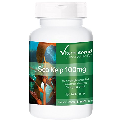 Sea Kelp 100mg/150µg Jod, Braunalge aus dem Nord-Atlantik (Kelp aus Frankreich), vegan, natürliche Jod-Tabletten, ohne Magnesiumstearat, 180 Kelp-Tabletten