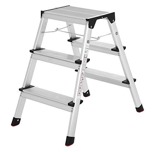 Songmics Aluminum Leiter Mehrzweckleiter bis 150 kg 3 Stufen entspricht EN14183 TÜV Rheinland geprüft GLT23K