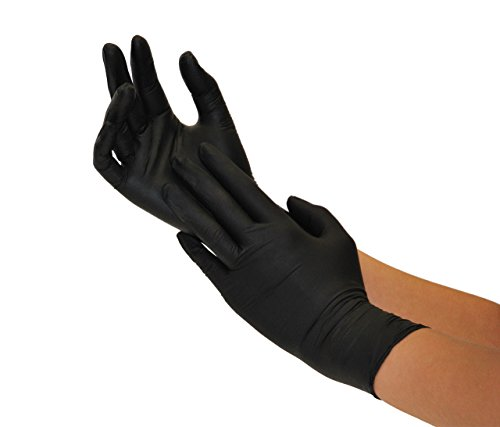 Einweghandschuhe Nitril 200 Stück Box (L, Nitril schwarz) Nitrilhandschuhe, Einmalhandschuhe, Untersuchungshandschuhe, Nitril Handschuhe, puderfrei, ohne Latex, unsteril, latexfrei, disposible gloves,