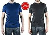Alpin Loacker Merino T-Shirt Merino-Wolle Sportshirt Herren | wenig Schweiß + Lange trocken | Funktionsshirt Unterwäsche | l blau