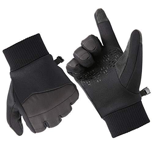 Fazitrip Touchscreen Handschuhe, Warm Nylon Silikon Fahrradhandschuhe Herren Winter Handschuhe rutschfest Winddicht Outdoor Sporthandschuhe für Fitness Camping Wandern Reiten (Mit Silikon, S)