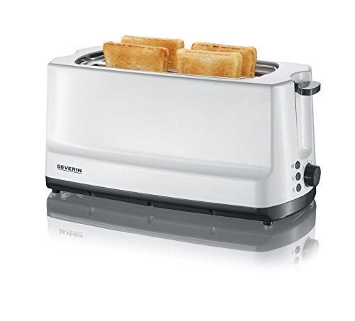 SEVERIN Automatik-Toaster, 2 Langschlitzkammern, Für bis zu 4 Brotscheiben, 1.400 W, AT 2234, Weiß/Grau