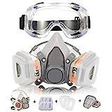 Coffly Atemschutzmaske Respirator Staubmaske Hlabmaske Set mit Schutzbrille Gasmaske mit Filter Gegen Gase, Dämpfe und Partikel Lackiermaske für Handwerker, Heimwerker, Farbspritz und Pestizid usw