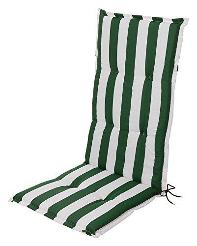 Schwar Textilien Stuhlauflage Hochlehner Auflage Sitzauflage Gartenstuhlauflage Blockstreifen Grün Weiß