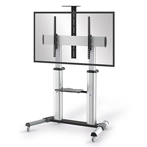 conecto LM-FS03G Professional TV-Ständer Standfuß für Fernseher Flachbildschirm LCD LED Plasma höhenverstellbar 55-100 Zoll (152-254 cm, bis 80 kg Tragkraft) max. VESA 1000x600mm, Aluminium, silbergrau/schwarz