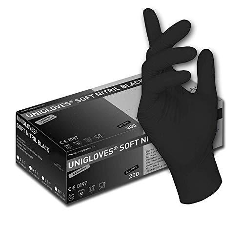 200 Stck - Einweghandschuhe - EU-Schutz - Schwarze Nitril-Handschuhe puderfreie Tätowierhandschuhe Kochhandschuhe (10 / XL)