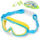 Taucherbrille Schwimmbrille Kinder - Schwimmbrillen mit Antibeschlag und UV Schutz, Swimming Goggles, Ohrstöpsel & Nasenklammern mitgeliefert, Größenverstellbar, Unisex für Kinder Jungen Mädchen