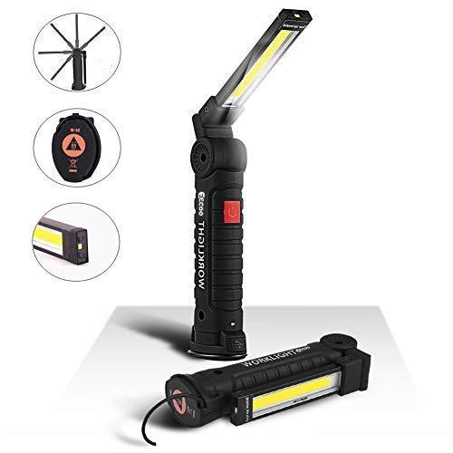 LED Arbeitsleuchte Taschenlampe Werkstattlampe LED COB Inspektionsleuchten Wiederaufladbare mit Haken zum Aufhängen und Magnet Basis für Auto Reparatur, Werkstatt, Garage, Camping, Notbeleuchtung