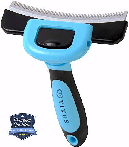 TIXUS Professionelle Fellpflegebürste für optimale Entfernung von Unterwolle, Unterfell und losen Haaren - DeShedding Tool für Hunde und Katzen - Fellpflege-Werkzeug, Striegel