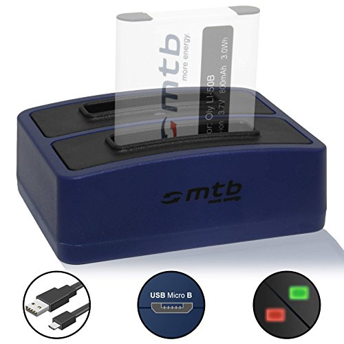 Dual-Ladegerät (USB) für Olympus Li-50b / Pentax D-Li92 / Ricoh DB-100 / Kodak LB-050 - kompatible Geräte siehe Liste! - inkl. Micro-USB-Kabel (2 Akkus gleichzeitig ladbar)