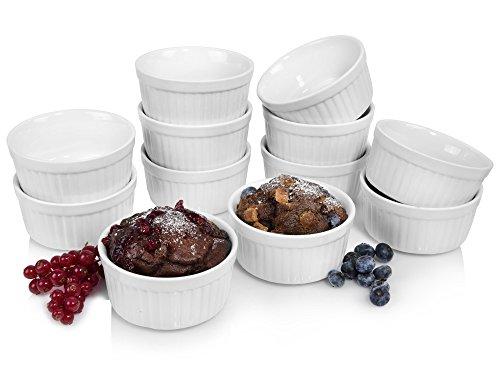 Sänger Soufflé Souffle Förmchen 12er Set | Durchmesser 10 cm | Perfekt geeignet für Muffins, Cupcakes, Creme Brûlée oder als Dipschalen Ofenbeständig bis 250°C -Porzellan-