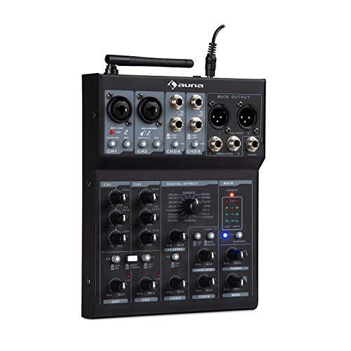 auna Blackbird 6-Kanal Mixer Mischpult • 6 Kanäle • USB-Verbindung • Bluetooth • 2 x Mikrofon-Anschluss mit Bass- und Treble-Control • 16 Effekte • für +48V Kondensatormikrofon geeignet • schwarz
