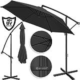Kesser Alu Ampelschirm Ø 350 cm mit Kurbelvorrichtung UV-Schutz Aluminium Wasserabweisende Bespannung - Sonnenschirm Schirm Gartenschirm Marktschirm Anthrazit Grau
