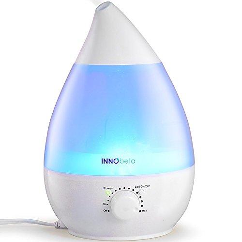 InnoBeta 2,4 Liter Ultraschall-Luftbefeuchter Cool Mist mit Filter für babys, kinder - Die ganze Nacht hindurch, Leise, Automatische Ausschaltung,langlebig, 7-farbige LED-Lichter (bis 35m²)