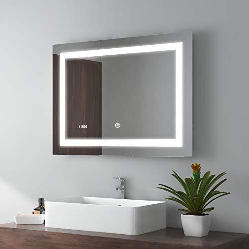 80x60cm LED Badspiegel Wandspiegel Beleuchtung Badezimmerspiegel mit Touch-Schalter, Digitaluhr und Anti-Beschlag