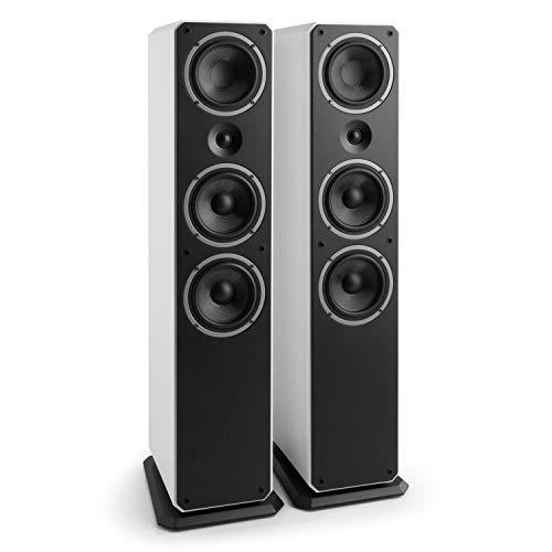 NUMAN Octavox 701 MKII • Standlautsprecher Paar • HiFi Lautsprecher • Stereo-Lautsprecher • 200 Watt max. • 3-Wege-Box • Gewebe-Hochtöner • Standfuß • weiß