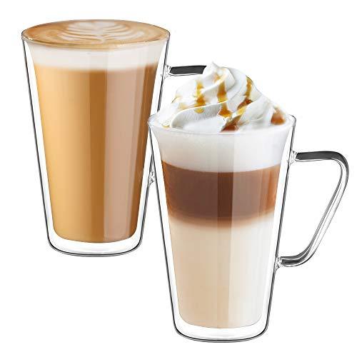ecooe Doppelwandige Latte Macchiato Glaser Set Kaffeeglas mit Henkel 2-teiliges 450ml (Volle Kapazität) 9.5 * 14cm
