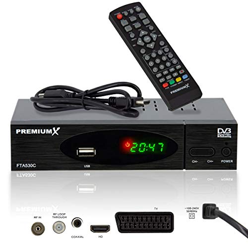 PremiumX FTA 530C Full HD Digitaler DVB-C / C2 TV Kabel Receiver | Auto Installation USB Mediaplayer SCART HDMI WLAN optional | Kabelfernsehen für jeden Kabel-Anbieter geeignet