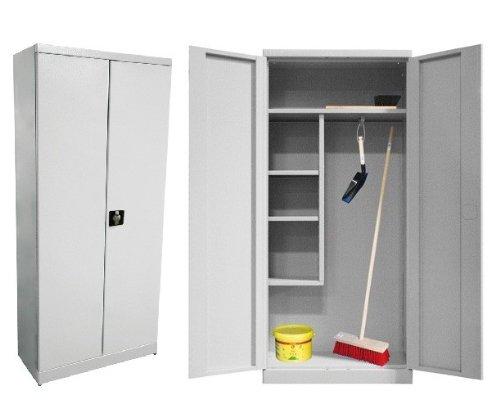 ADB Putzmittelschrank / Besenschrank / Universalschrank / Mehrzweckschrank / Metallschrank / Stahl-Schrank / Spindschrank, 80x37x179 cm, Sehr Robust, abschließbar