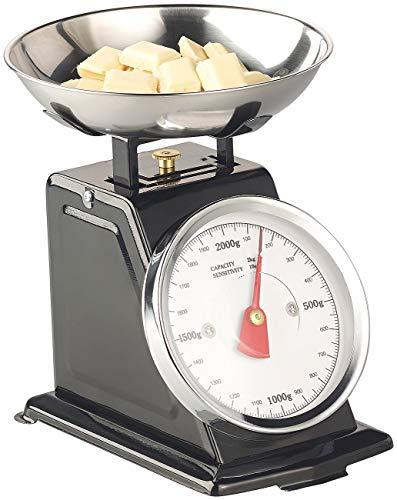 Rosenstein & Söhne Kuechenwaage: Analoge Retro-Küchenwaage bis 2 kg mit Tara-Funktion, schwarz, Metall (Vintage-Küchenwaage)