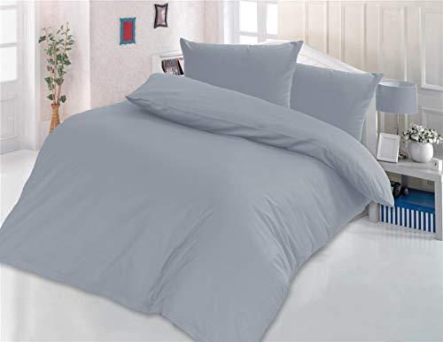 Style Heim Bettwäsche Set 200x220 cm, Baumwolle Renforcé, Einfarbig Uni Reißverschluss, 3 TLG. Anthrazit Grau