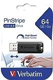Verbatim PinStripe USB-Stick - 64 GB - High-Speed 3.0-Schnittstelle, externer Speicherstick mit Schiebefunktion, schwarz, 49318