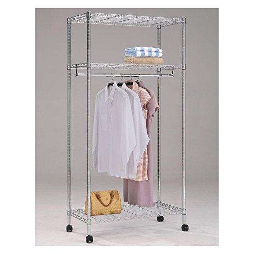 IDIMEX Garderobenwagen Rollgarderobe Garderobe mit 3 Ablagen und 1 Kleiderstange, verchromt, Sicherheitsdoppelrollen