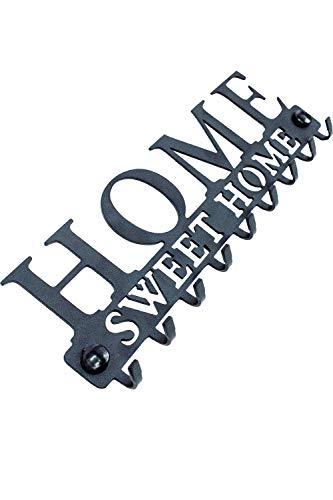 Stilemo Schlüsselbrett Zum ordentlichen Aufhängen - Sparen Sie Zeit mit der Schlüsselleiste Home Sweet Home - Hakenleiste Schlüssel Wand in Edlem Schwarz - 9 Haken - 25 x 8.5 cm