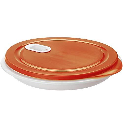 Rotho 1002302792 Mikrowellen-Teller XL-Menüteller mit herausnehmbarer Unterteilung-mit zusätzlicher Einzeldose für Salat-Plastik-BPA-frei-weiß/rot-26 x 26 x 4, 8 cm (LxBxH), Kunststoff, 26 cm