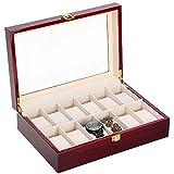 Uhrenbox für 6 Holz Uhrenkasten Uhrenkoffer Schmuckkasten Damen Herren mit Glasanzeige Oberseite …