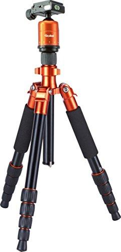 Rollei Compact (leichtes Reisestativ aus Aluminium mit geringem Packmaß, Schnellklemmenverschraubung und 360° Panorama, Kugelkopf) orange