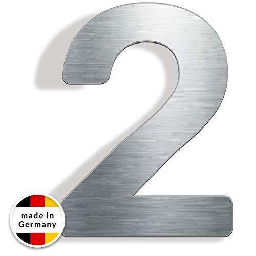 Edelstahl Hausnummer - INOXSIGN - hochwertige rostfreie Hausnummer mit Montagematerial - modern matt gebürstet - elegantes Hausnummernschild - Made in Germany (Hausnummer 2)