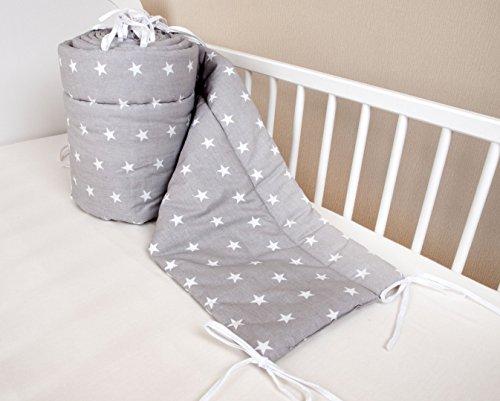 Amilian Bettumrandung Nest Kopfschutz Nestchen 420x30cm, 360x30cm, 180x30 cm Bettnestchen Baby Kantenschutz Bettausstattung Sternchen grau (420x30cm)
