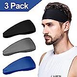 Herren Stirnband (3er Pack), Herren Schweißband & Sport Stirnband für Laufen, Radfahren, Yoga, Basketball - Stretchy Moisture Wicking Unisex Hairband