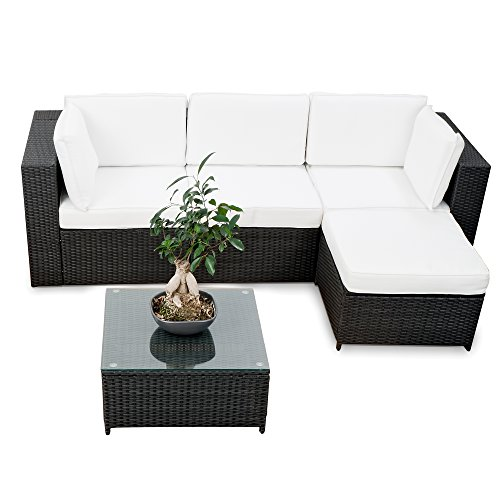 XINRO Lounge Set Polyrattan erweiterbar - Balkon Rattan Lounge Ecke - schwarz - Garnitur Sitzgruppe Gartenmöbel Lounge Möbel Set aus Polyrattan - inkl. Lounge Sessel + Ecke + Hocker + Tisch + Kissen