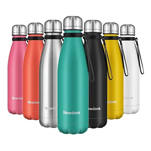 Newdora Vacuum Isolierte Wasserflasche & Vacuum Flask - 500 ml, 12 Stunden heiß / 24 Stunden kalt, doppelwandiger 18/8-Edelstahl für Kinder, Sport und Outdoor mit Reinigungsbürste(Blau)