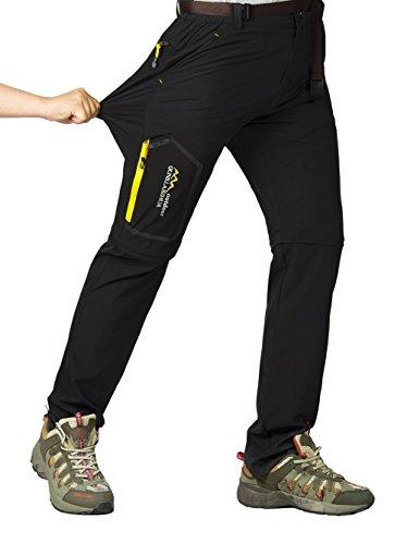 Leezepro Outdoor Hose Herren Zwei Teile zerlegbar Leicht mit Gürtel Sonnenschutz Schnell Trocknende Wanderhose Funktionshose, Schwarz, EU XXL (Etikettgröße: 6XL)