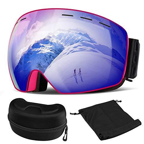 Orlegol Skibrille Snowboard Brille Damen und Herren, OTG Ski Schutzbrille Schneebrille Doppel-Objektiv UV-Schutz Anti-Fog Winddicht Skibrillen, Helmkompatible Ski Goggles für Skifahren oder Skaten
