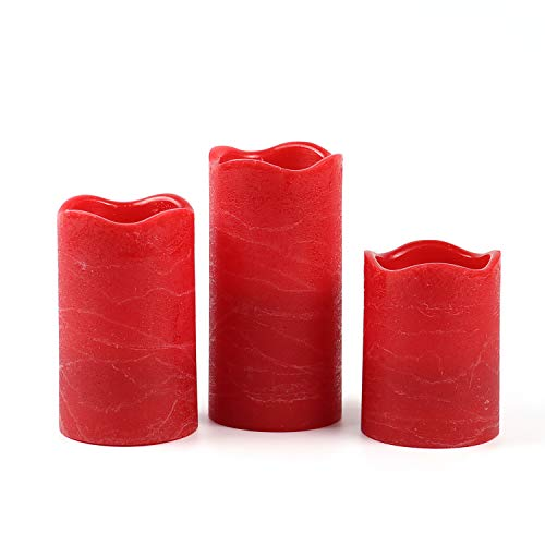 Rhyting 3 Rot Flammenlose Kerzen Echtflammen-Optik Rustik-Design Timerfunktion mit batterien enthalten, Rustikale Wachskerzen ohne Flamme