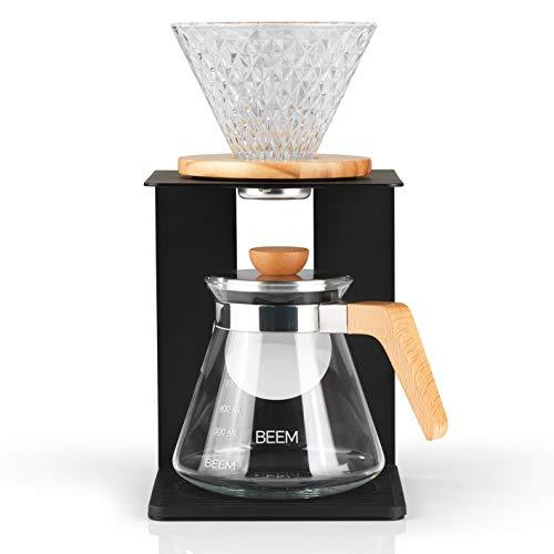 Beem Pour Over Kaffeebereiter Set-4 Tassen | Classic Selection | 4-teilig | Glas-Handfilter in Diamantoptik | Größe 2 | 0,5 l Glaskanne inkl. Deckel | Hochwertiges Gestell | Silikonunterlage