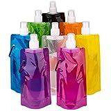 LUTER Faltbare Wasserflasche Trinkbeutel Trinkblase Mehrfarben Wiederverwendbare tragbare Falten Wasser Tasche für Outdoor-Sportarten Reiten Wandern, 8 Farben, 8 Stück