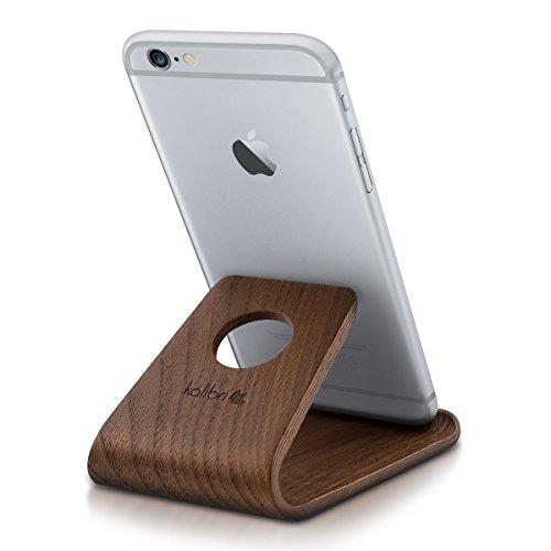 kalibri Handy Halterung Smartphone Ständer - Universal Halter für iPhone Samsung iPad Tablet u.a. - Tisch Stand Dock in Walnuss-Holz Dunkelbraun