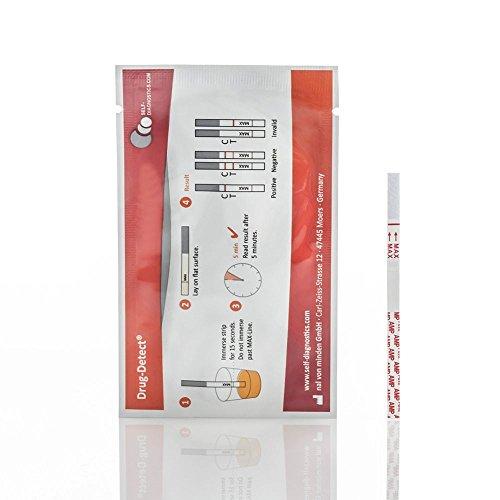 Drogentest Cannabis (Mariuhana / Haschisch / THC) -Schnelltest Drug-Detect - 10 Teststreifen (Cut-off: 25 ng/ml)