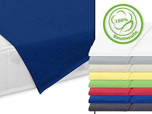 Haushaltstuch aus 100% Baumwolle - Betttuch ohne Spanngummi - ca. 150 x 250 cm - in 8 verschiedenen Farben, blau