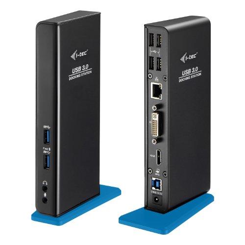 i-tec USB 3.0 Dual Docking Station für Tablets und Notebooks HDMI DVI 2x Full HD+ 2048x1152 + USB Charging Port für Tablet 4x USB 2.0 Port 2x USB 3.0 Port Gigabit Ethernet, Audioausgang , Mikrophoneingang, Für  Notebook Ultrabook Tablet ab WIN 8.0