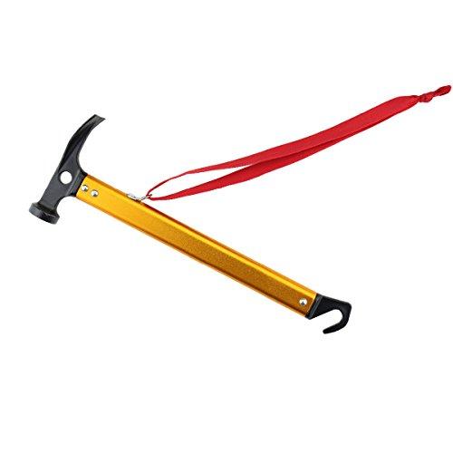 TRIWONDER Camping Zelt Hammer Leichte Outdoor-Multifunktions Hammer Aluminium Hammer mit Zelt Stake Remover für Regenfliege Tarp (Gold)