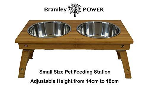 Bramley Power Erhöhte Bambus-Futterstation für Hunde, höhenverstellbar