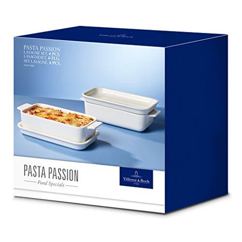 Villeroy & Boch Pasta Passion Lasagne-Set, 4-teilig, Premium Porzellan, Weiß