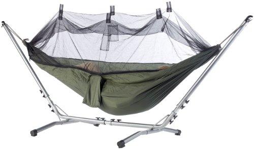 Semptec Urban Survival Technology Sonnenliege: Hängematte aus Fallschirmseide mit Moskitonetz (Campingliege)