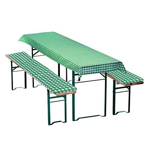 Wagner Textil 3 TLG. Bierbankauflagen-Set Grün/Weiß kariert mit Sitzpolsterung für Bierzeltgarnitur 70cm oder 50cm Tischbreite